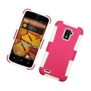 Insten TPU Rubber Hard PC Candy Skin Mesh Case Cover For ZTE Warp LTE - Hot Pink/White