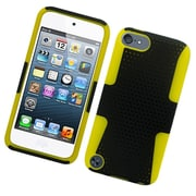 Insten TPU Rubber Hard PC Candy Skin Mesh Case Cover For Apple iPod Touch 5th Gen - Black/Yellow