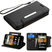 Insten Folio Leather Fabric Cover Case Lanyard w/stand/card holder For Alcatel One Touch Conquest - Black