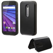 Insten Hard Cover Case w/card slot For Motorola Moto G(3rd Gen) - Black