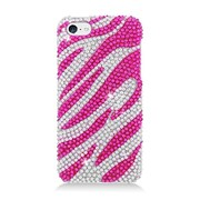 Insten Zebra Hard Diamond Case For Apple iPhone 5C - Hot Pink/Silver