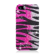 Insten Zebra Hard Bling Cover Case For Apple iPhone 5/5S - Hot Pink/Black