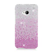Insten Waterfall Hard Diamond Cover Case For HTC One M7 - Pink/Silver