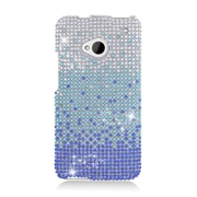 Insten Waterfall Hard Diamond Cover Case For HTC One M7 - Blue/Silver