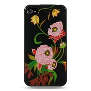 Insten Hard Crystal Skin Back Protective Shell Cover Case For Apple iPhone 4 / 4S - Black Peony
