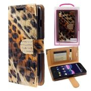 Insten Lips Book-Style Leather Fabric Case w/card holder/Photo Display/Diamond For ZTE Obsidian - Brown/Black