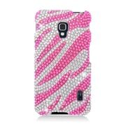 Insten Zebra Hard Rhinestone Cover Case For LG Optimus F6 MS500 - Hot Pink/Silver
