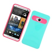 Insten Two-Tone/NightGlow Jelly Hybrid Hard Silicone Case Cover For HTC One M7 - Green/Hot Pink