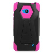 Insten Hard Dual Layer Plastic Silicone Case w/stand For Microsoft Lumia 640 - Hot Pink/Black