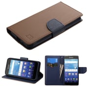 Insten Flip Leather Fabric Cover Case w/stand/card holder For Kyocera Hydro Wave - Brown/Dark blue