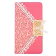 Insten Folio Leather Wallet Fabric Case with Card slot For ZTE Grand X Max - Hot Pink/Gold