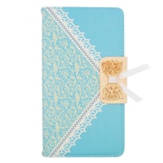 Insten Leather Wallet Cover Case with Card slot For ZTE Grand X Max - Light Blue/Gold