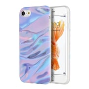 Insten Marble IMD Soft TPU Rubber Skin Gel Back Case Cover For Apple iPhone 7 - Purple/Pink