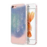 Insten Dancing feather TPU Water Color IMD Rubber Skin Gel Back Case Cover For Apple iPhone 7 - Blue/White