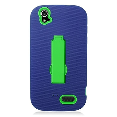 Insten Symbiosis Skin Hybrid Rubber Hard Case with stand For ZTE Grand X - Blue/Green
