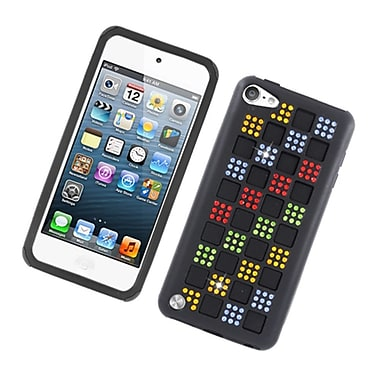 Insten Checker Hybrid Silicone/PC Case Cover with Diamond for Apple iPod Touch 5th Gen - Black/Colorful