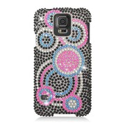 Insten Circles Hard Bling Cover Case For Samsung Galaxy S5 - Black/Pink