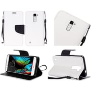 Insten Book-Style Leather Fabric Cover Case Lanyard w/stand For LG K10 - White/Black