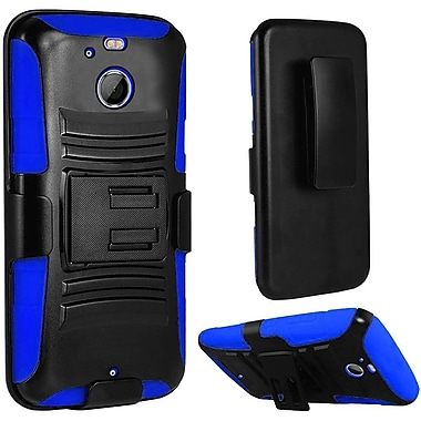Insten Hard Dual Layer Plastic Silicone Case w/Holster For HTC 10 / Bolt - Black/Blue