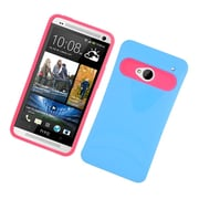 Insten Two-Tone/NightGlow Jelly Hybrid Hard Silicone Case Cover For HTC One M7 - Blue/Hot Pink
