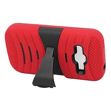 Insten Wave Symbiosis Skin Hybrid Rubber Hard Stand Case For ZTE Concord II - Red/Black