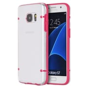 Insten Clear Back 4 Dots Fusion TPU Candy Skin Rubber Gel Case For Samsung Galaxy S7 - Clear/Hot Pink