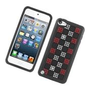 Insten Checker Dual Layer Hybrid Rubber Silicone/PC Case Cover with Diamond for Apple iPod Touch 5th Gen - Black/Red