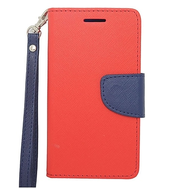 Insten Wallet Leather Stand Case with Lanyard & Card slot For LG Lucid 3 - Red/Blue