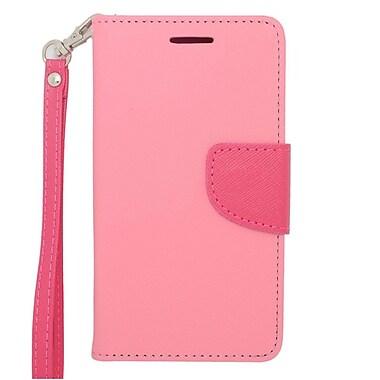 Insten Flip Wallet Leather Case with Card Slot & Lanyard For LG Lucid 3 - Pink/Hot Pink