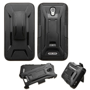 Insten Hard Hybrid Rugged Shockproof Plastic Silicone Cover Case w/Holster For Alcatel One Touch Elevate - Black