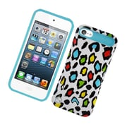 Insten Two-Tone/NightGlow Leopard Jelly Hybrid Hard Silicone Case Cover For Apple iPod Touch 5th Gen - Colorful/Blue