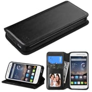 Insten Book-Style Leather Fabric Case w/stand/card holder/Photo Display For Alcatel One Touch Pop Astro - Black