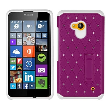 Insten Hard Hybrid Silicone Cover Case with Stand For Microsoft Lumia 640(Metro PCS)/Lumia 640(T-mobile) - Purple/White
