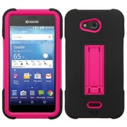 Insten Symbiosis Soft Dual Layer Rubber Hard Cover Case w/stand For Kyocera Hydro Wave - Black/Hot Pink