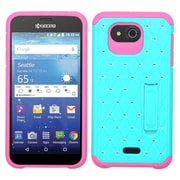 Insten Hard Hybrid Rubber Coated Silicone Cover Case with Stand/Diamond For Kyocera Hydro Wave - Teal/Hot Pink