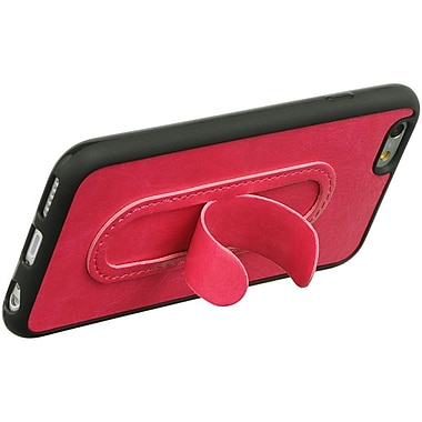 Insten TPU Black Frame Leather Tongue Stand Rubber Skin Case For Apple iPhone 6 / 6s - Hot Pink