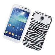 Insten Two-Tone/NightGlow Zebra Jelly Hybrid Hard Silicone Case Cover For Samsung Galaxy S4 - Black/White