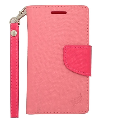 Insten Leather Wallet Case with Card slot & Lanyard For ZTE Prelude 2/Whirl 2/Zinger - Pink/Hot Pink