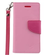 Insten Leather Wallet Case with Card slot & Lanyard For ZTE Paragon/Sonata 2/Zephyr - Pink/Hot Pink