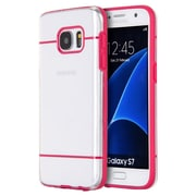 Insten Glamon Fusion TPU Candy Skin Rubber Gel Case For Samsung Galaxy S7 - Clear/Hot Pink