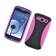Insten Dual Layer Hybrid TPU Rubber Candy Skin Case Cover for Samsung Galaxy S3 i9300 - Black/Hot Pink