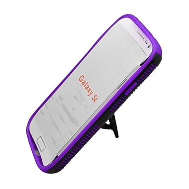 Insten Dual Layer Hybrid Stand TPU Rubber Candy Skin Case Cover for Samsung Galaxy S4 i9500 - Purple/Black