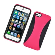 Insten Dual Layer Hybrid TPU Rubber Candy Skin Case Cover for Apple iPhone 5 / 5S - Hot Pink/Black