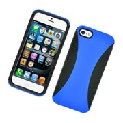 Insten Dual Layer Hybrid TPU Rubber Candy Skin Case Cover for Apple iPhone 5 / 5S - Dark Blue/Black