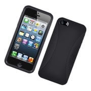 Insten Dual Layer Hybrid TPU Rubber Candy Skin Case Cover for Apple iPhone 5 / 5S, Black