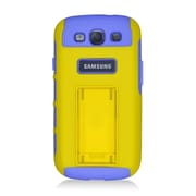 Insten Dual Layer Hybrid TPU Rubber Candy Skin Case Cover for Samsung Galaxy S3 i9300 - Yellow/Purple