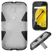 Insten Hard Dual Layer Silicone Case w/stand For Motorola Moto E (2nd Gen 2015) - Clear/Black