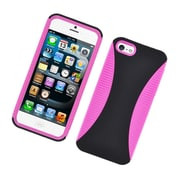 Insten Dual Layer Hybrid TPU Rubber Candy Skin Case Cover for Apple iPhone 5 / 5S - Black/Hot Pink