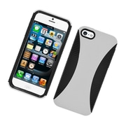Insten Dual Layer Hybrid TPU Rubber Candy Skin Case Cover for Apple iPhone 5 / 5S - White/Black