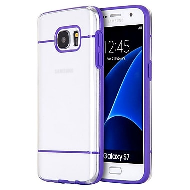 Insten Glamon Fusion TPU Candy Skin Rubber Gel Case For Samsung Galaxy S7 - Clear/Purple